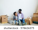 boy and his father having rest... | Shutterstock . vector #578626375