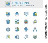 simple icons set of electronic... | Shutterstock .eps vector #578633986