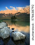 Small photo of Lake Eibsee at Sunset, Alpenglow on Mount Zugspitz, Bavaria, Germany