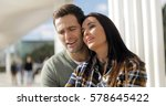 young couple relaxing at an... | Shutterstock . vector #578645422