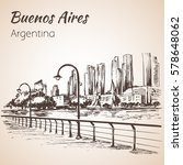 buenos aires cityscape seafront.... | Shutterstock .eps vector #578648062