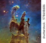 Small photo of Deep space object: Pillars of creation in Eagle Nebula (M16) in the constellation Serpens, elements of this image furnished by NASA