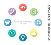 social networking. set icons.... | Shutterstock .eps vector #578649238