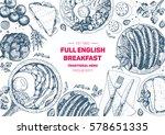 english breakfast top view... | Shutterstock .eps vector #578651335