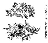 floral set  of hand drawn... | Shutterstock .eps vector #578656012