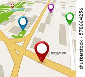 vector gps map city. street... | Shutterstock .eps vector #578664256