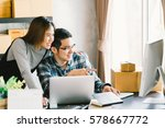 young asian couple startup... | Shutterstock . vector #578667772