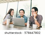 group of young asian business... | Shutterstock . vector #578667802