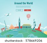 travel composition with famous... | Shutterstock .eps vector #578669206