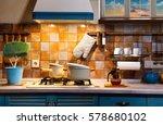 interior blue kitchen.... | Shutterstock . vector #578680102