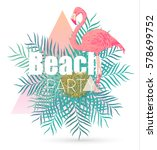 flamingo and tropical leaves...   Shutterstock .eps vector #578699752