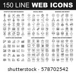 vector set of 150 flat line web ... | Shutterstock .eps vector #578702542