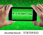 hand holding smart phone with... | Shutterstock . vector #578709352