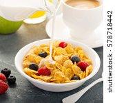 cornflakes cereals with berries ...   Shutterstock . vector #578718442