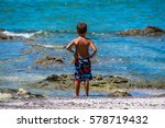 child looking at the sea. costa ... | Shutterstock . vector #578719432