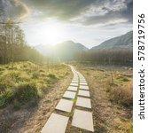 sunset in the woods corridor | Shutterstock . vector #578719756