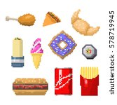 pixel art fast food icons... | Shutterstock .eps vector #578719945