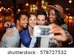 multi ethnic millenial group of ... | Shutterstock . vector #578727532