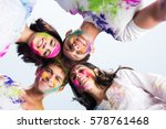 young indian happy friends or... | Shutterstock . vector #578761468