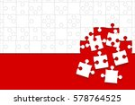 puzzle red background  banner ...   Shutterstock .eps vector #578764525