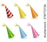 realistic birthday hats set... | Shutterstock .eps vector #578772736