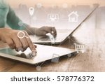 online payment services with... | Shutterstock . vector #578776372