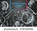 english breakfast top view... | Shutterstock .eps vector #578784982