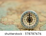 golden compass on vintage map... | Shutterstock . vector #578787676