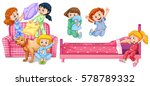 girls playing in bedroom... | Shutterstock .eps vector #578789332