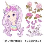 girl with a unicorn horn and... | Shutterstock .eps vector #578804635