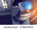 engineer or electrician working ... | Shutterstock . vector #578810902