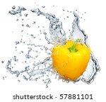 Pepper In Spray Of Water. Juicy ...