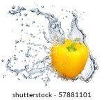Pepper In Spray Of Water. Juic...