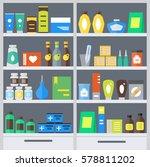 pharmacy shelves background...   Shutterstock .eps vector #578811202