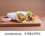 shawarma chicken sandwich with... | Shutterstock . vector #578813992