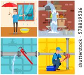 plumbing service concept set.... | Shutterstock .eps vector #578819536