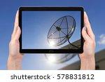 using tablet concept satellite... | Shutterstock . vector #578831812