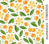 cherry seamless pattern. vector ... | Shutterstock .eps vector #578835055