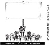 hand holding a placard.crowds... | Shutterstock .eps vector #578837116