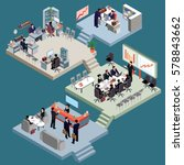 set of isometric people in... | Shutterstock .eps vector #578843662