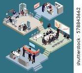 set of isometric people in... | Shutterstock .eps vector #578843662