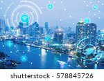 icons of wifi  internet ... | Shutterstock . vector #578845726