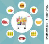 full shopping cart with food... | Shutterstock .eps vector #578846902