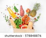 full paper bag of healthy food... | Shutterstock . vector #578848876