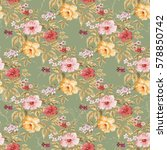 seamless floral pattern with... | Shutterstock .eps vector #578850742