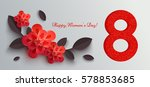 web banner for women's day with ... | Shutterstock .eps vector #578853685