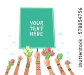 youth crowd hands holding... | Shutterstock .eps vector #578854756