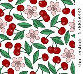 cute cherry seamless pattern.... | Shutterstock .eps vector #578856442