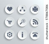 web icons set   white round... | Shutterstock . vector #578867086