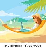girl freelancer working | Shutterstock .eps vector #578879095